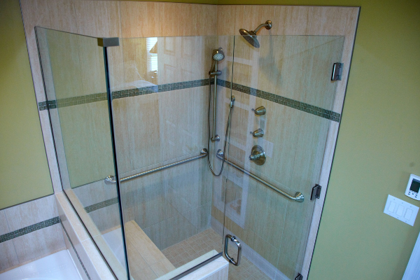 full glass bathroom stall remodeling in ohio