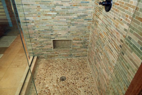 stone flooring with tile wall designs