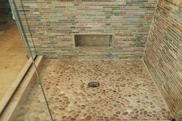 bathroom shower stone flooring