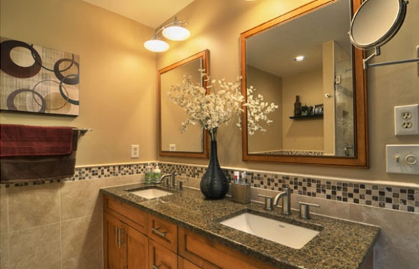 Bathroom, Granite counter top with large mirrors