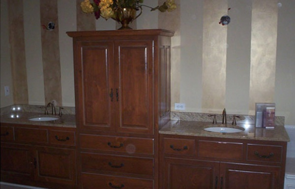 Double sink with custom cabinetry